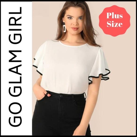 93ab4cdf0b NWT PLUS SIZE White Blouse With Black Trim 1XL. Boutique. Glam Girl Fashion.  M_5d081c07f2e15f0d01454a2e. M_5d101234186c5031e5e1675d